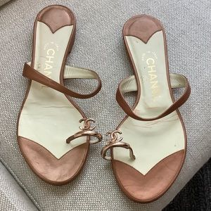 Chanel Bronze Gold Sandals/ Flats RARE